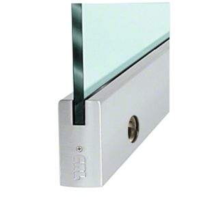 """CRL DR4SBS12CL Brushed Stainless 1/2"""" Glass 4"""" Square Door Rail With Lock - Custom Length"""