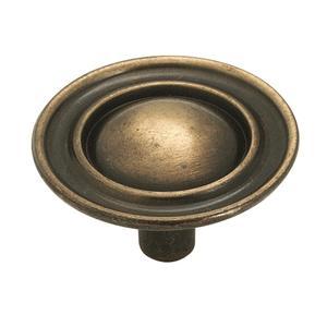 Allison Value Hardware 1-1/2 Inch Diameter Mushroom Cabinet Knob Antique Brass