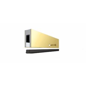 """Custom Aluminum Smoke Baffle Base Shoe with Polished Brass Cladding for 1/2"""" Glass"""