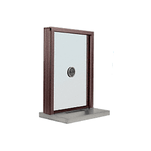 "CRL N1EW18DU Dark Bronze Aluminum Narrow Inset Frame Exterior Glazed Exchange Window with 18"" Shelf and Deal Tray"