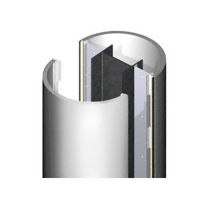 CRL ECR20CPS Custom Polished Stainless Standard Series Round Column Covers Two Panels Opposing