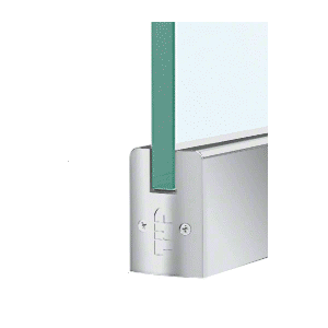 """CRL DR2SSA12SL Satin Anodized 1/2"""" Glass Low Profile Square Door Rail With Lock - 35-3/4"""" Length"""