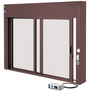 CRL EDW1802DU Dark Bronze Custom Size All Electric Fully Automatic Deluxe Sliding Service Window XO or OX with Aluminum Full Bottom Track