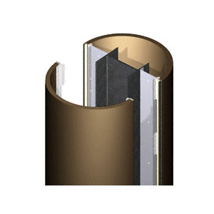 CRL ECR20CPBRZ Custom Polished Bronze Standard Series Round Column Covers Two Panels Opposing