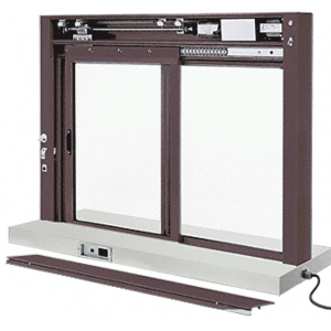 CRL EDW1804DU Dark Bronze Custom Size All Electric Fully Automatic Deluxe Sliding Service Window XO or OX With Stainless Steel Shelf