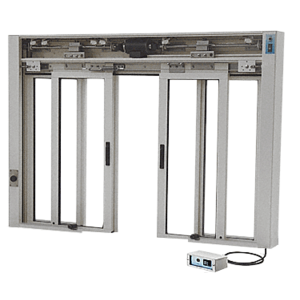 CRL EDW3401A Satin Anodized Custom Size All Electric Fully Automatic Deluxe Sliding Service Window OXXO With Aluminum Half Bottom Track