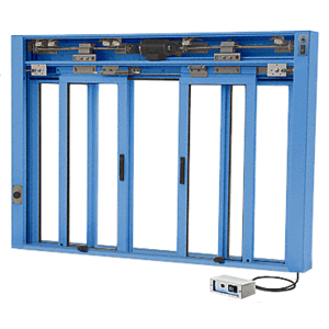 CRL EDW3402P Powder Painted (Specify) Custom Size All Electric Fully Automatic Deluxe Sliding Service Window OXXO With Aluminum Full Bottom Track