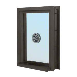 "CRL C0EW12DU Dark Bronze Aluminum Clamp-On Frame Exterior Glazed Exchange Window with 12"" Shelf and Deal Tray"
