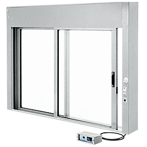 CRL EDW1802A Satin Anodized Custom Size All Electric Fully Automatic Deluxe Sliding Service Window XO or OX with Aluminum Full Bottom Track