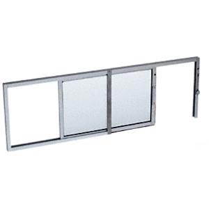 "CRL SW1614A Satin Anodized Horizontal Sliding Service Window X- or -X Format with 1/4"" Glass No Screen"