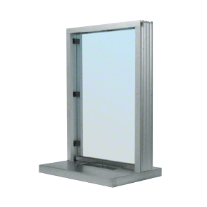 "CRL N11W18A Satin Anodized Aluminum Narrow Inset Frame Interior Glazed Exchange Window with 18"" Shelf and Deal Tray"
