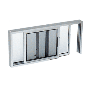 "CRL SW1800A Satin Anodized Horizontal Sliding Service Window XO or OX Format with 1/8"" or 1/4"" Vinyl Only - No Screen"