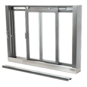 CRL SCDW1803A Satin Anodized Self-Closing Deluxe Sliding Service Windows with Stainless Steel Sill