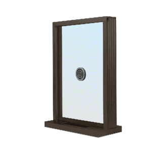 "CRL N1EW12DU Dark Bronze Aluminum Narrow Inset Frame Exterior Glazed Exchange Window with 12"" Shelf and Deal Tray"