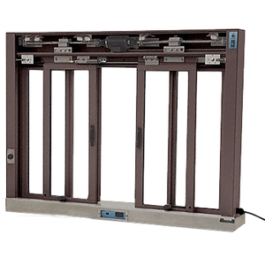 CRL EDW3403DU Dark Bronze Custom Size All Electric Fully Automatic Deluxe Sliding Service Window OXXO With Stainless Steel Sill