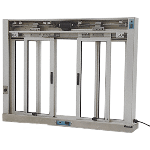 CRL EDW3403A Satin Anodized Custom Size All Electric Fully Automatic Deluxe Sliding Service Window OXXO With Stainless Steel Sill