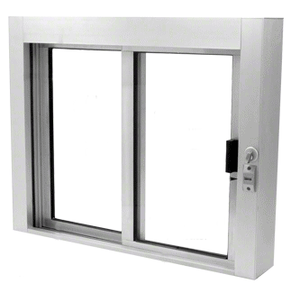 CRL SBRWEXA1 Satin Anodized Bullet Resistant Level 1 Exterior Manual Sliding Service Window
