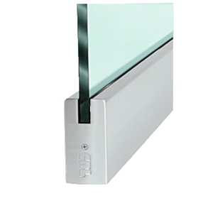 """CRL DR4SBS12C Brushed Stainless 1/2"""" Glass 4"""" Square Door Rail Without Lock - Custom Length"""