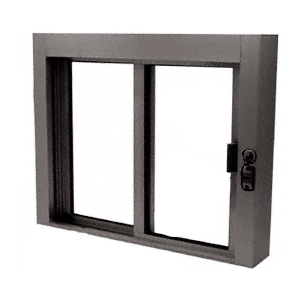 CRL SBRWEXDU1 Dark Bronze Bullet Resistant Level 1 Exterior Manual Sliding Service Window