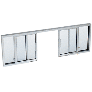 "CRL SW3414A Satin Anodized Horizontal Sliding Service Window OXXO Format with 1/4"" Glass no Screen"