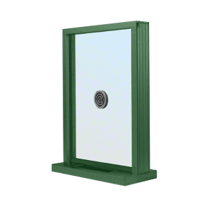 "CRL N1EW12K KYNAR Painted (Specify) Aluminum Narrow Inset Frame Exterior Glazed Exchange Window with 12"" Shelf and Deal Tray"