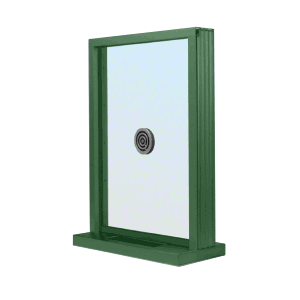 "CRL N1EW18K KYNAR Painted (Specify) Aluminum Narrow Inset Frame Exterior Glazed Exchange Window with 18"" Shelf and Deal Tray"