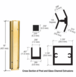 "CRL D990BGA1845C Brite Gold Anodized 18"" 45 Degree Center Design Series Partition Post"