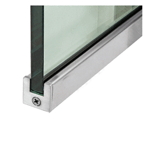 """Brushed Stainless 1"""" Tall Slender Profile Door Rail Without Lock - Custom"""