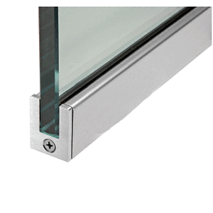 "CRL SP35BS12C Brushed Stainless 1-3/8"" Tall Slender Profile Door Rail Without Lock - Custom"