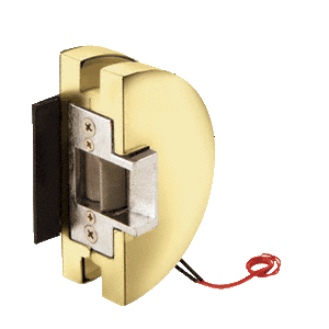Fail Safe Lever Lock Glass Keepers with Electric Strike - Polished Brass