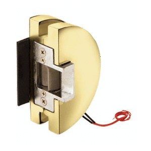 Fail Secure Lever Lock Glass Keepers with Electric Strike - Polished Brass