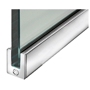 """Polished Stainless 1-3/8"""" Tall Slender Profile Door Rail Without Lock - Custom"""