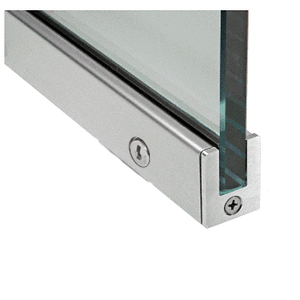 """Brushed Stainless 1-3/8"""" Left Hand from Outside Tall Slender Profile Door Rail With Lock Custom Length"""