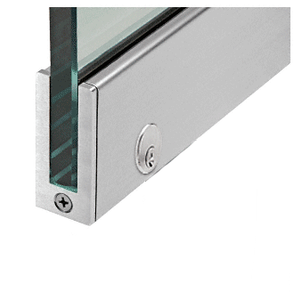 "CRL SP64BS12CL Brushed Stainless 2-1/2"" LH from Outside Tall Slender Profile Door Rail With Lock Custom Length"