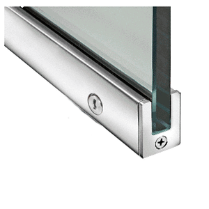 "Polished Stainless 1-3/8"" LH from Outside Tall Slender Profile Door Rail With Lock Custom Length"
