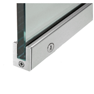 """Brushed Stainless 1-3/8"""" RH from Outside Tall Slender Profile Door Rail with Lock Custom Length"""