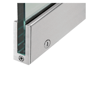 "CRL SP64BS12CR Brushed Stainless 2-1/2"" RH from Outside Tall Slender Profile Door Rail with Lock Custom Length"