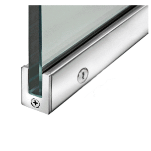 "Polished Stainless 1-3/8"" RH from Outside Tall Slender Profile Door Rail With Lock Custom Length"