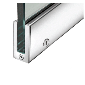 """Polished Stainless 2-1/2"""" RH from Outside Tall Slender Profile Door Rail With Lock Custom Length"""