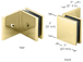 CRL SGC039BR Polished Brass Fixed Panel Square Clamp With Large Leg