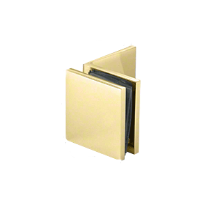 Polished Brass Fixed Panel Square Clamp With Large Leg