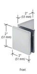 CRL SGC039SC Satin Chrome Fixed Panel Square Clamp With Large Leg