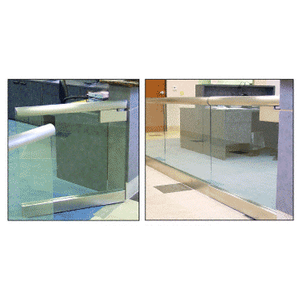 """Brushed Stainless W1 Series Gate Standard Rail With 2.5"""" Cap"""