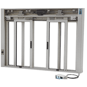CRL EDW3402CA Custom Anodized Custom Size All Electric Fully Automatic Deluxe Sliding Service Window OXXO With Aluminum Full Bottom Track