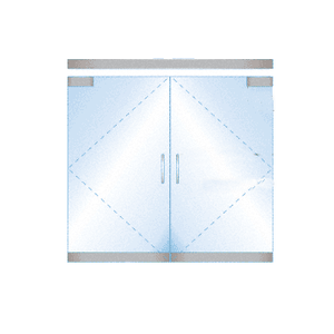 CRL BP4SA12DEL Dry Glazed Frameless Glass 6' BP-Style Satin Anodized Double Door Complete Entrance Kit - with Lock
