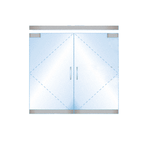 CRL BP4SA12DE Dry Glazed Frameless Glass 6' BP-Style Satin Anodized Double Door Complete Entrance Kit - without Lock