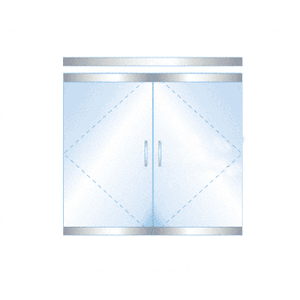 "CRL P4PS12DEL Dry Glazed Frameless Glass 6'-0"" P-Style Polished Stainless Double Door Complete Entrance Kit - with Lock"