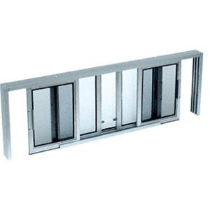 "CRL SW5214A Satin Anodized Horizontal Sliding Service Window XOX Format with 1/4"" Glass with Screen"