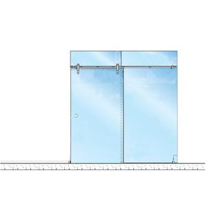 CRL LSGM5BS Brushed Stainless Laguna Series Glass Mount Single Slider Kit