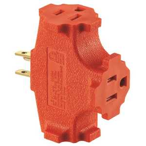 Leviton Mfg. Company, Inc 694-OR 15 Amp, 125-Volt, NEMA 5-15R, 2-Pole, 3-Wire, Grounded Single-to-Triple Adapter, Orange